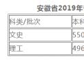 2019安徽一本分数线